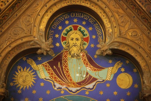 Stock Photo: 1606-127525 France, Paris, Altar painting : Jesus with sun & moon    France