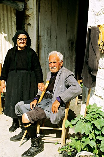 Cyprus, old man and woman posing for the camera : Stock Photo