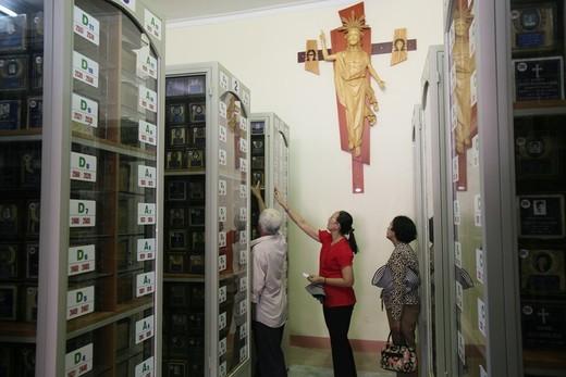 Vietnam, Ho Chi Minh City, Funeral urns  Vietnam. : Stock Photo