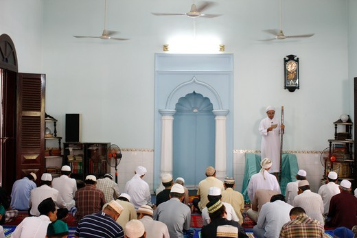 Vietnam, Ho Chi Minh City, The friday prayer.  Worshipers listening to the  sermon. Vietnam. : Stock Photo