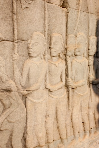 Stock Photo: 1606-127822 Cambodia, Siem Reap, Siem Reap, Relief Sculpture on the East Outer Gallery at Bayon.  Cambodia.