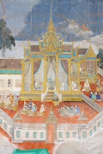 Stock Photo: 1606-127978 Cambodia, Phnom Penh, Sylver Pagoda. This mural depicts scenes from the Reamker which is the Cambodian, or Khmer, version of the classic Hindu poem Ramayana.  Cambodia.