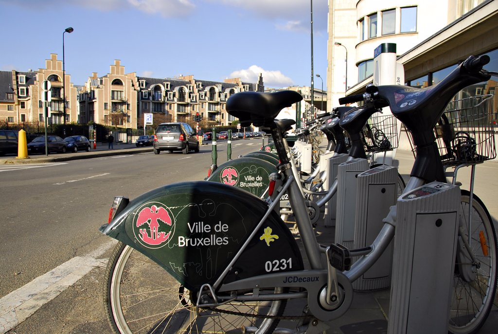 Belgium, Brussels, self-service bikes : Stock Photo