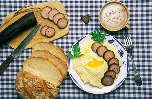 Stock Photo: 1606-12867 France, Brittany, Morbihan, Vannes, chitterlings and mashed potatoes plate, cider and bread