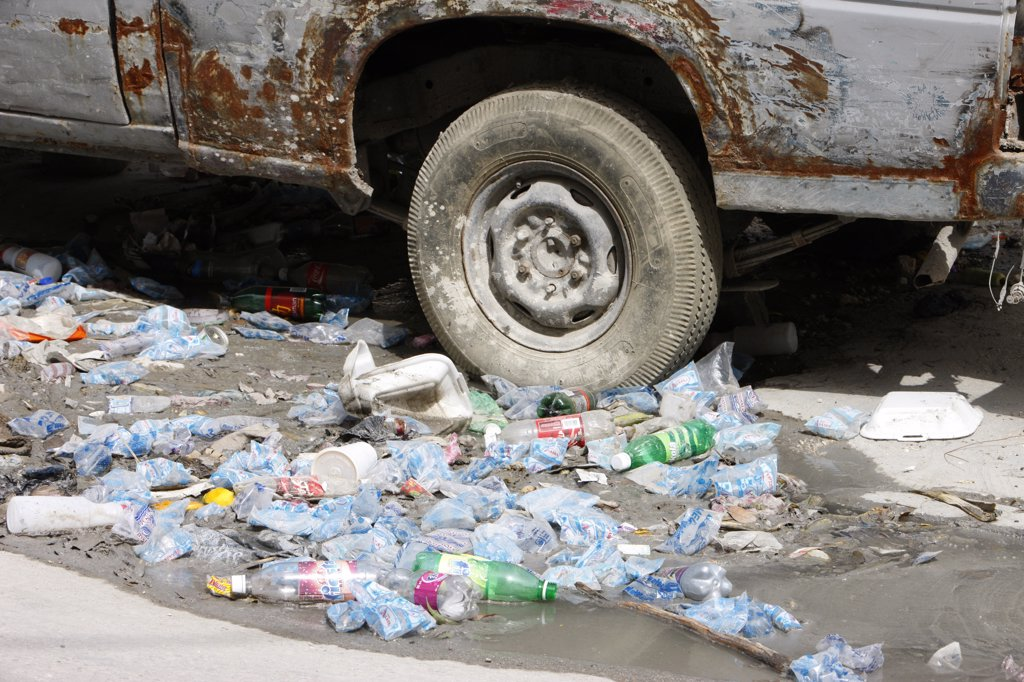 Haiti, Port-au-Prince. Pollution in a street of  Port au Prince. Haiti. June 2010. : Stock Photo