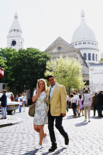 France, Paris, Montmartre, couple in street : Stock Photo