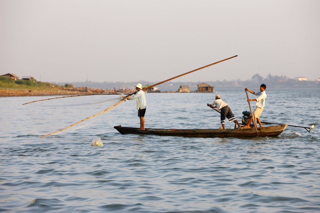 Cambodia, Phnom Penh. Fishing boat on the  Mekong river.    Cambodia. : Stock Photo