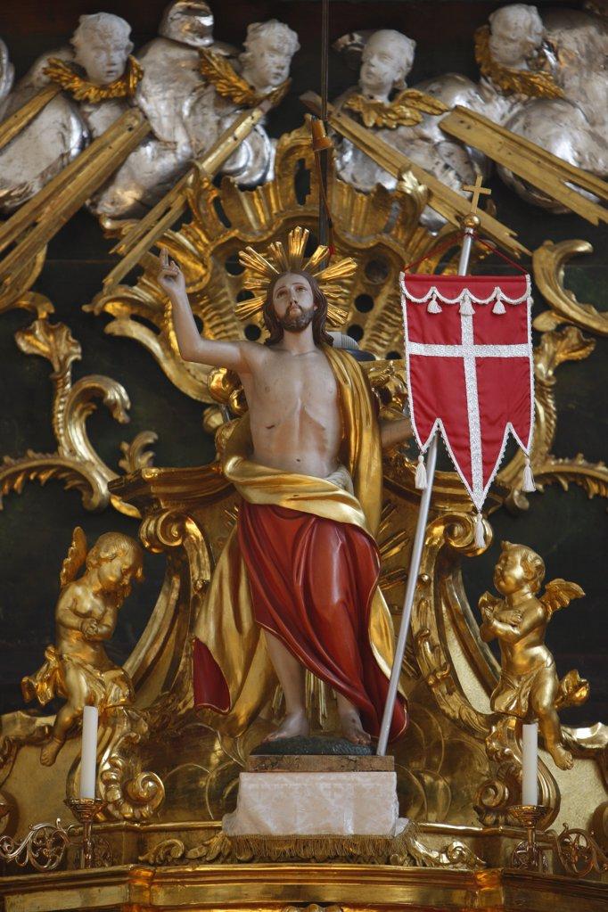 Austria, Lower Austria, Mauer bei Melk. Mauer bei Melk Church.  Baroque Altar. Jesus.  Austria. : Stock Photo