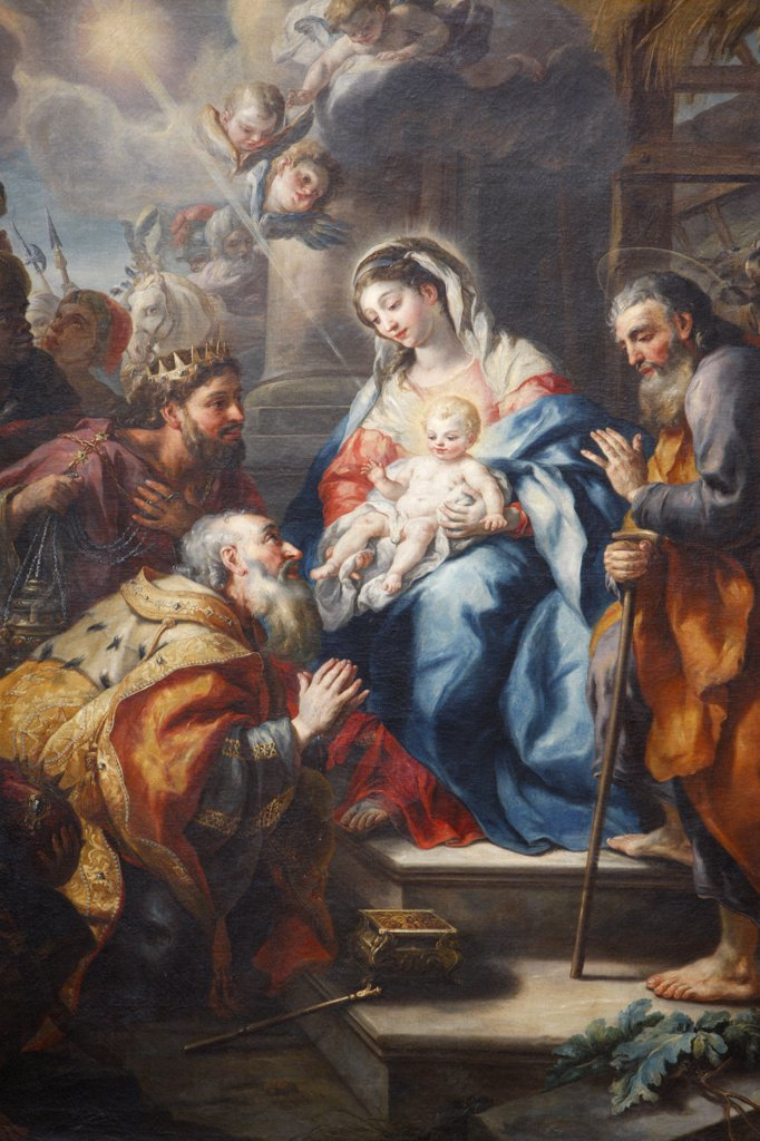 Stock Photo: 1606-129369 Austria, Lower Austria, Melk. Melk Abbey.  The adoration of the Magi by J.M Rottmayr, 1723.  Austria.