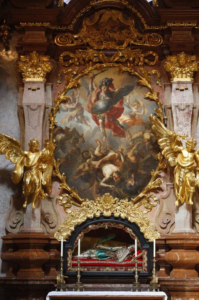 Stock Photo: 1606-129414 Austria, Lower Austria, Melk. Melk Abbey. Saint Michael by J.M Rottmayr, 1723.  Austria.