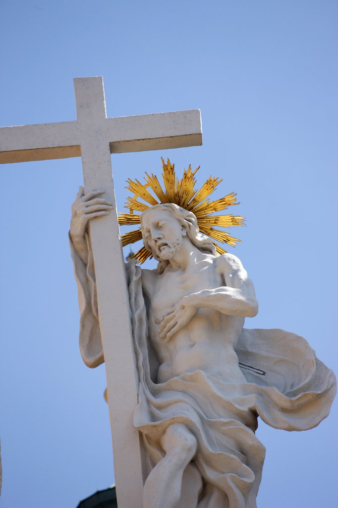 Stock Photo: 1606-129438 Austria, Lower Austria, Melk. Melk Abbey. Christ and the cross. Resurrection Austria.
