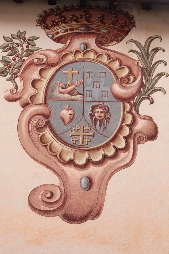 France, Alpes Maritimes, Saorge. Monastery of Saorge. Christian symbols France. : Stock Photo
