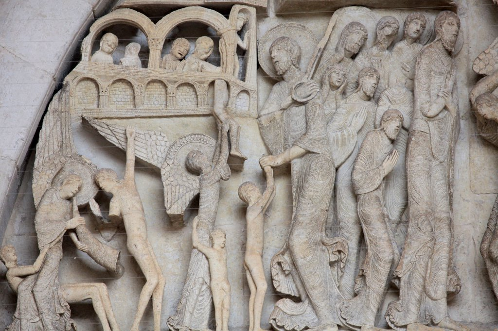 Stock Photo: 1606-129722 France, Saône-et-Loire, Autun. Tympanum. Last Judgment by Gislebertus on the West Portal of Saint-Lazare Cathedral.  France.