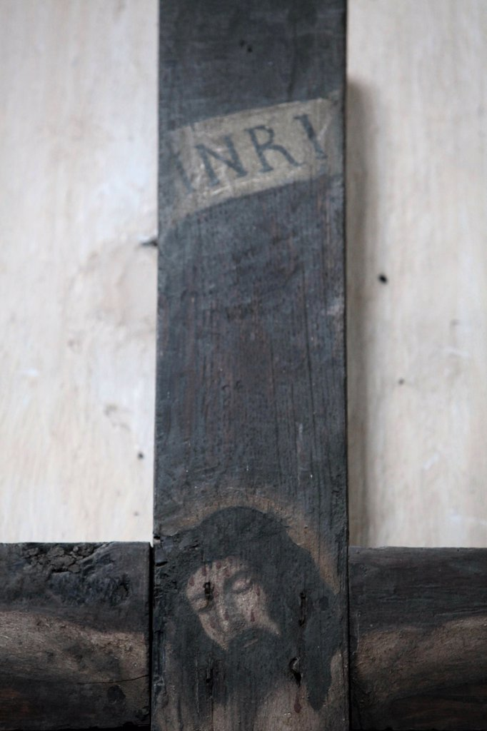Stock Photo: 1606-129727 France, Alpes Maritimes, Saorge. Monastery of Saorge. Painting of Jesus on the cross.  France.