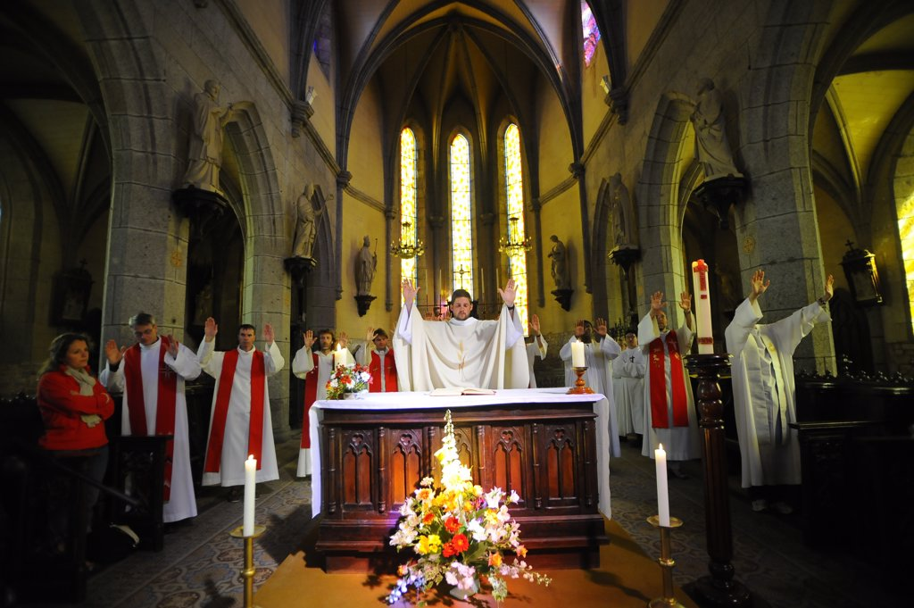 Stock Photo: 1606-129788 France, Manche, Avranches. Ascension mass at Mont Saint Michel abbey France.