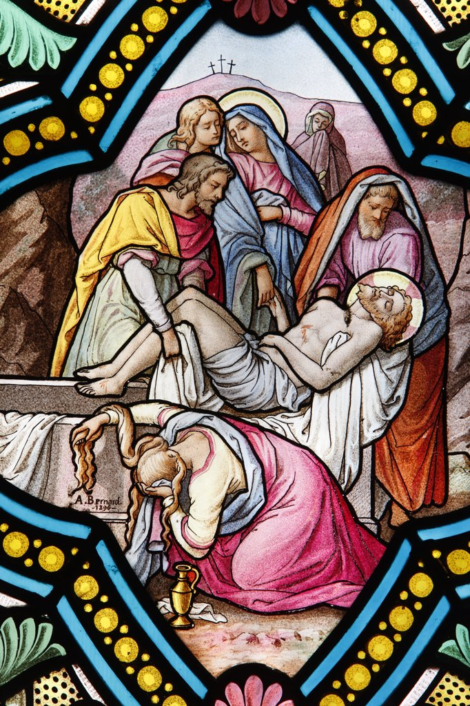 France, Isère, La Salette. Shrine of Our Lady of la Salette.  Stained glass window. Jesus taken from the cross France. : Stock Photo