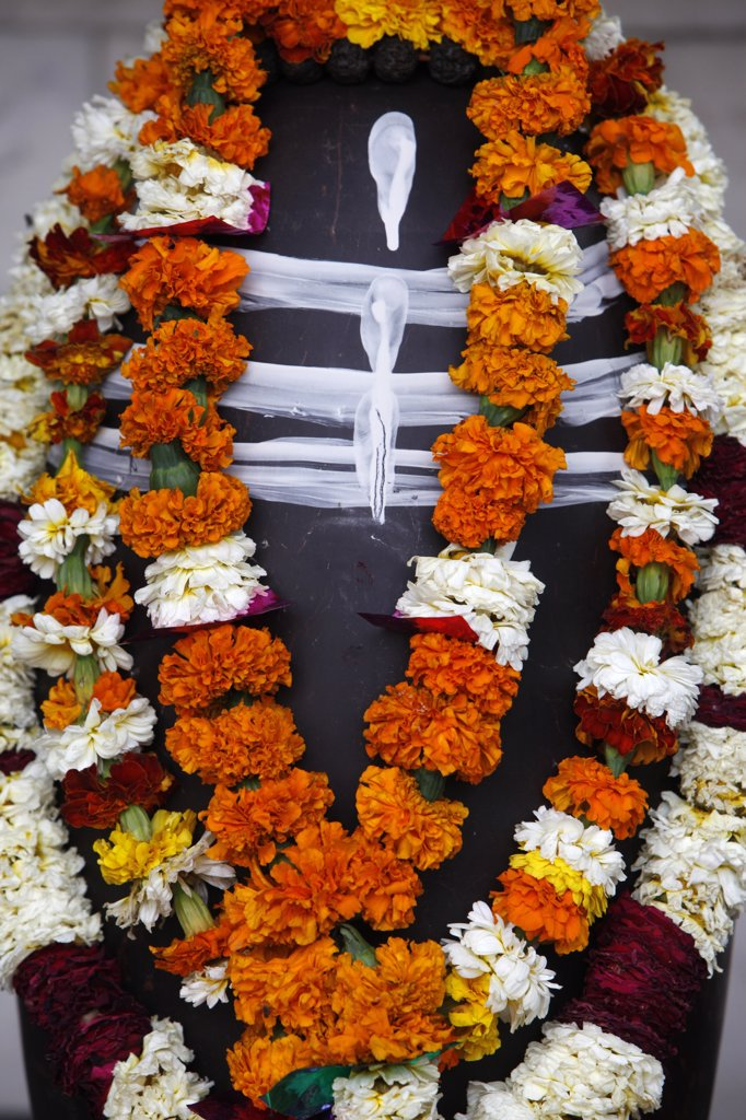 Stock Photo: 1606-130079 India, Uttarhakand, Rishikesh. Garlanded lingam statue  India.