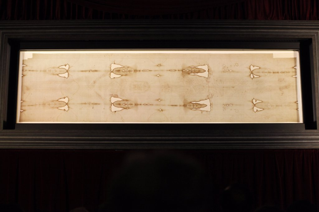 Italy, Piedmont, Turin. Shroud of Turin in Duomo (cathedral) Italy. : Stock Photo