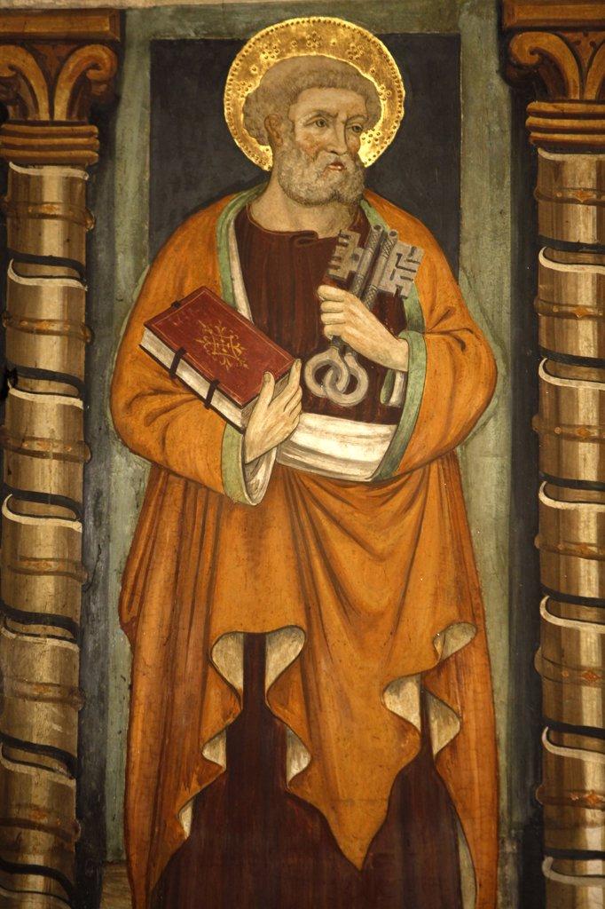 Italy, Piedmont, Turin. Saint Peter fresco in San Domenico church Italy. : Stock Photo