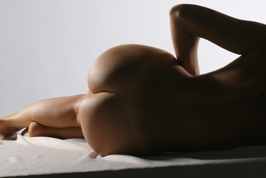 Naked woman, rear view : Stock Photo