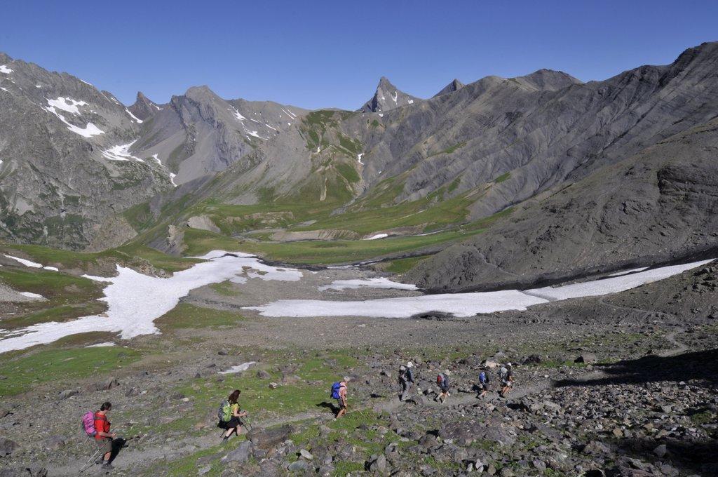 Stock Photo: 1606-131845 France, Alps, Ecrins, col de Gouiran, trekking