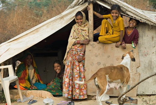 Stock Photo: 1606-132577 India, Haryana, Gurgaon, worker's camp for new town