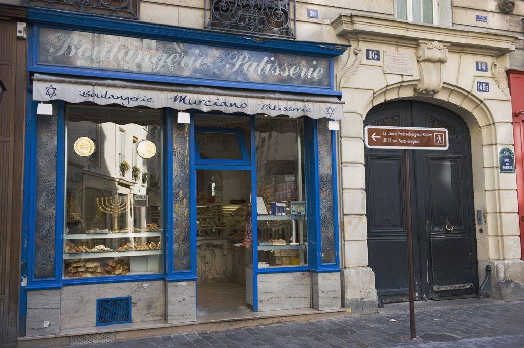 France, Paris, rue des Rosiers, baker's : Stock Photo