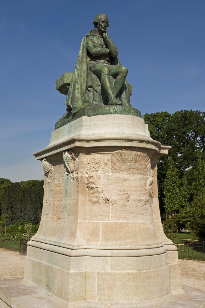 France, Paris, Jardin des Plantes, statue of Jean-Baptiste Lamarck : Stock Photo