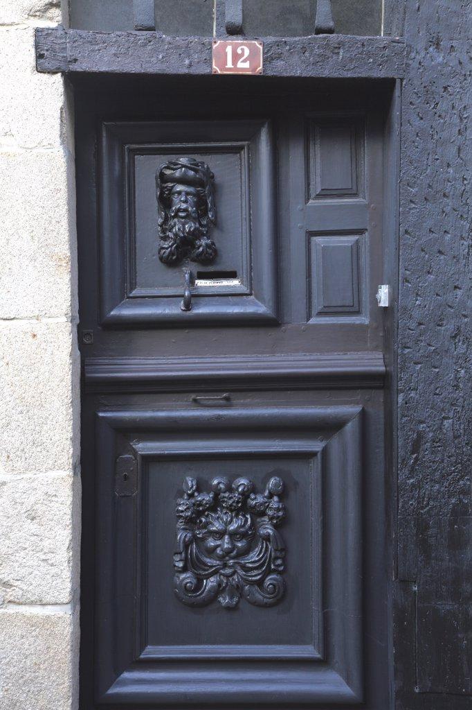 France, Brittany, Cotes d'Armor (22), Treguier, Saint Yves street : Stock Photo