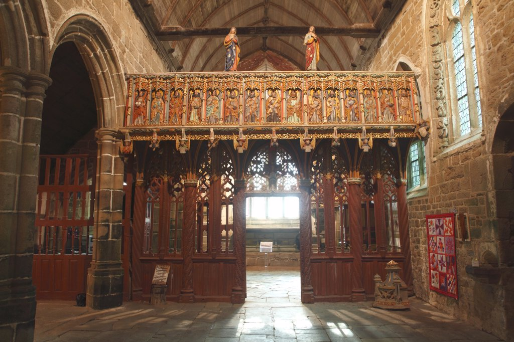 Stock Photo: 1606-133020 France, Brittany, Cotes d'Armor (22), Ploubezre (Lannion area), Notre Dame de Kerfons chapel, jube in wood from 1485