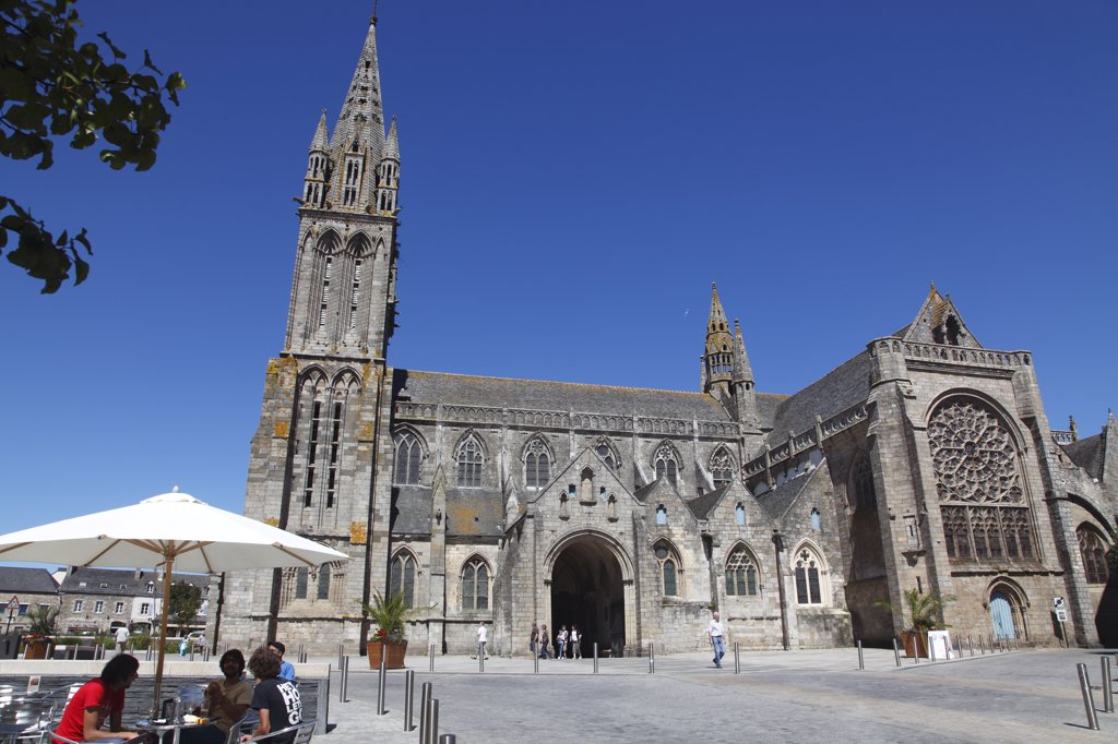 France, Brittany, Finistere (29), Saint-Pol-de-Leon, the cathedral : Stock Photo