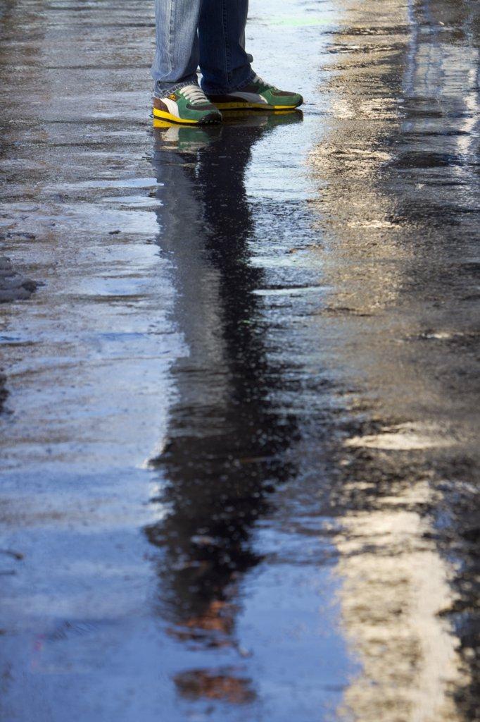 France, Paris, slippery sidewalk : Stock Photo