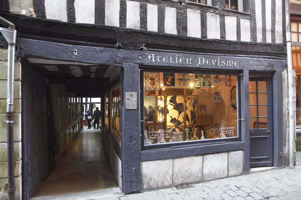 Stock Photo: 1606-133718 France, Normandy, Upper Normandy, Seine Maritime (76), Rouen, Damiette street, stained glass window workshop
