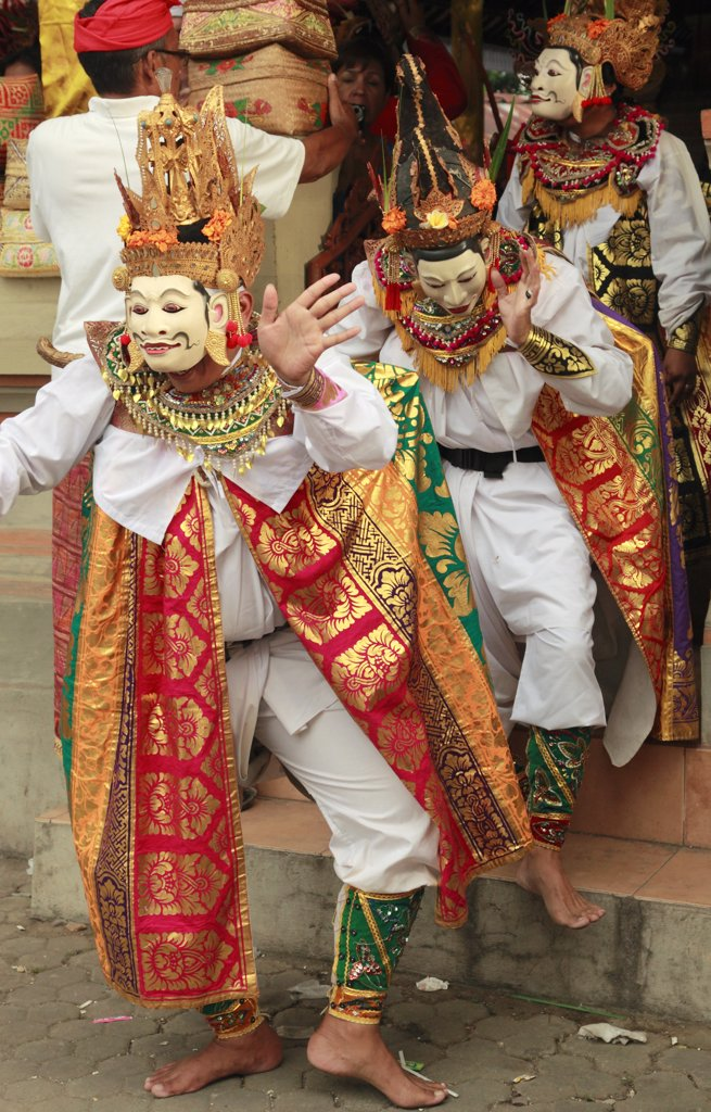 Stock Photo: 1606-134206 Indonesia, Bali, Mas, temple festival, masked dancers, odalan, Kuningan holiday,