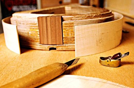 Stock Photo: 1606-13569 France, Corsica, Pigna, stringed instrument maker