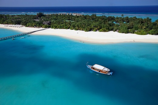 Stock Photo: 1606-135743 Maldives islands, Lhaviyani atoll, seaplane arrival on a private island of the Kanuhura luxury hotel (aerial view)