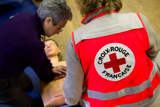 France, first aid and defibrillator training : Stock Photo
