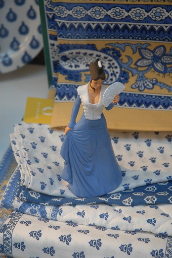 Stock Photo: 1606-136306 France, Provence, Aix en Provence, traditional fabric and figurine