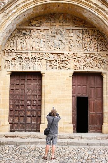 Stock Photo: 1606-136607 France, Aveyron, Conques. Sainte Foy abbey church doors and tympanum France