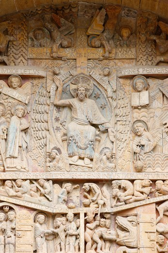 Stock Photo: 1606-136610 France, Aveyron, Conques. Sainte Foy abbey church tympanum : Christ in Glory & Last Judgment France