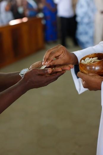 Togo, Lomé. Catholic mass in Lomé. Togo. : Stock Photo