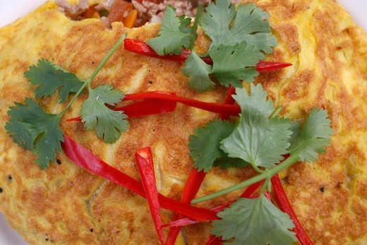 Stock Photo: 1606-136883 Grande-Bretagne, Wimbledon. Thai food offered during a festival at Buddhapadipa temple : omelette with parsley & chilies United kingdom.