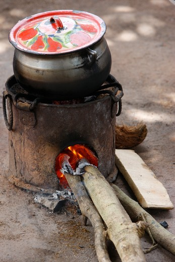 Togo, Lomé. Maize cooking Togo. : Stock Photo