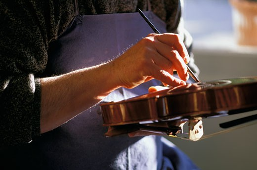 Stock Photo: 1606-13766 France, Provence, Bouches du Rhône, Aix en Provence, stringed instrument maker