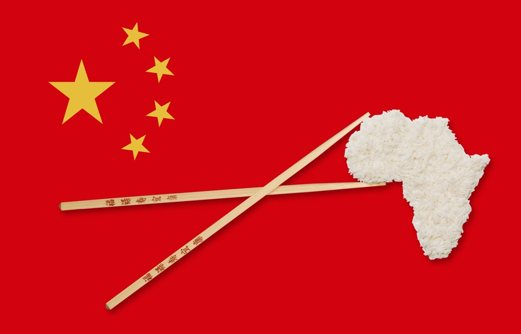 Stock Photo: 1606-138601 Chopsticks and map of Africa made of rice on chinese flag