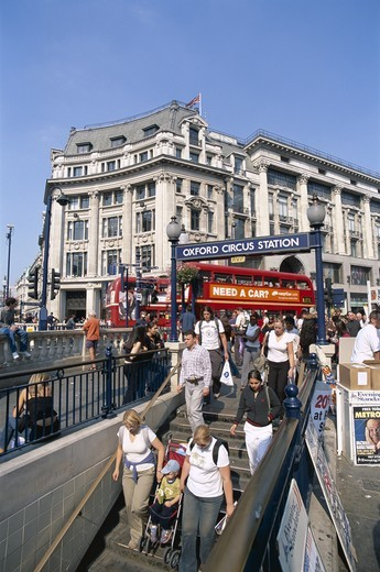 England, London, Oxford Street / Oxford Circus Underground Entrance : Stock Photo