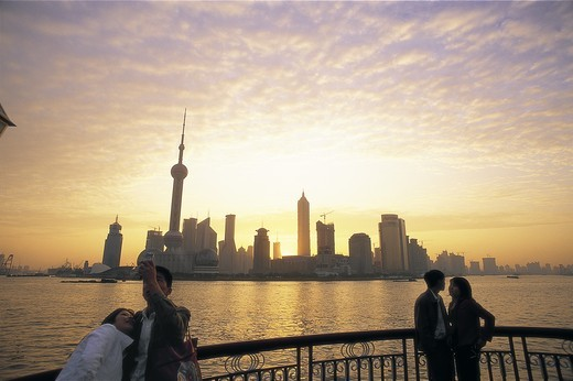 China, Shanghai, Pudong Skyline and Huangpu River : Stock Photo