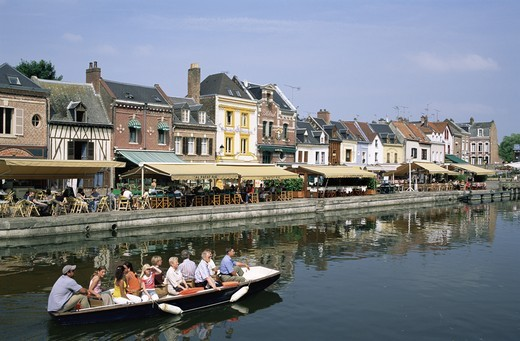 France,Picardy,Amiens,Waterside Restaurants at St.Leu Area : Stock Photo