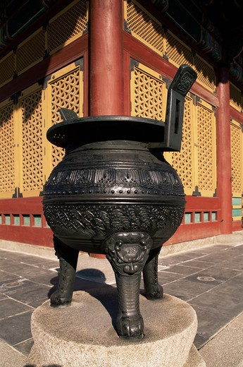 Korea,Seoul,Deoksugung Palace,Urn in Front of Junghwajeon Pavilion : Stock Photo