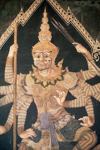 Stock Photo: 1606-141955 Thailand,Bangkok,Wat Phra Kaeo,Grand Palace,Murals Depicting Scenes from the Ramakian